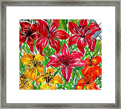 Lilies Framed Print by Nancy Rucker
