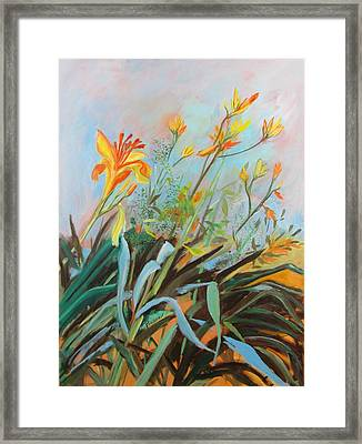 Lilies Of The Field Framed Print by Betty Pieper