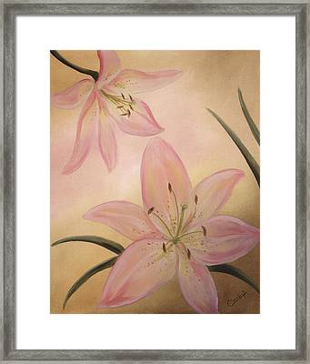 Lilies Part1 Framed Print by Cathy Cleveland