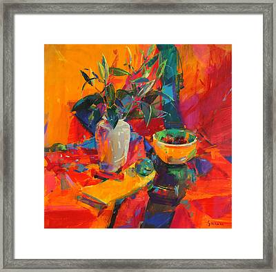 Lilies Framed Print by Peter Graham
