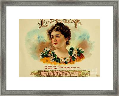 Lilly Cigars Vintage Label Framed Print by Pd