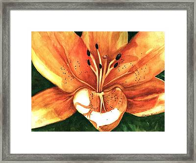 Framed Print featuring the painting Lilly Of The Garden by Sharon Mick