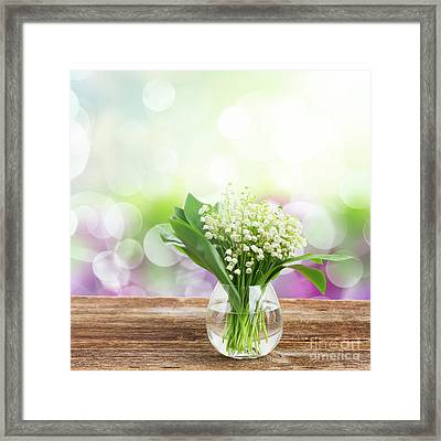 Lilly Of Valley Posy In Glass Framed Print