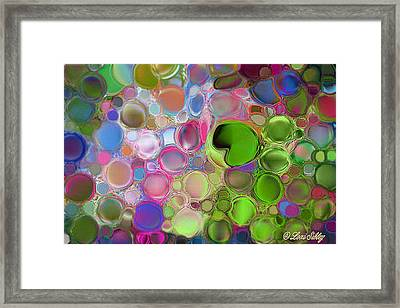 Framed Print featuring the digital art Lilly Pond by Loxi Sibley
