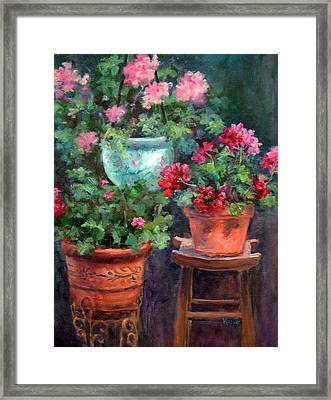 Lil's Geraniums Framed Print by Jill Musser
