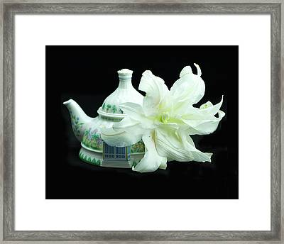Lily And Teapot Framed Print
