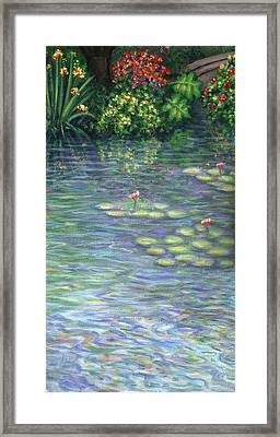 Lily Pads Triptych Part Three Framed Print by Linda Mears