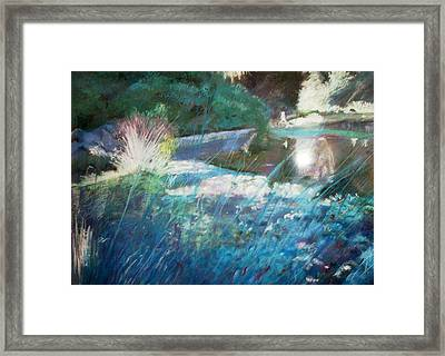 Lily Pond Statue And Gardens Framed Print by Anita Stoll