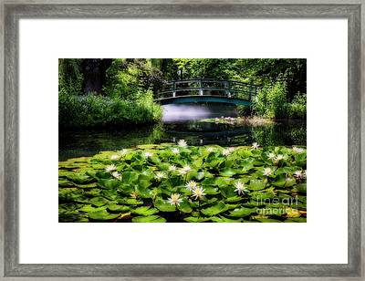 Lily Pond With A Footbridge Framed Print by George Oze