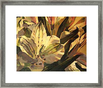 Framed Print featuring the painting Lily White by Tim  Heimdal