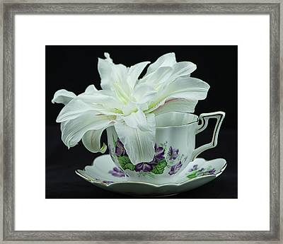 Lily With Teacup Framed Print