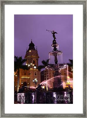 Lima Cathedral And Fountain At Sunset Peru Framed Print