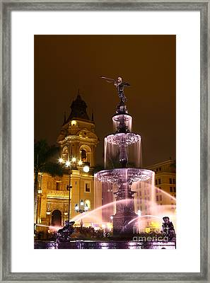 Lima Cathedral And Fountain Peru Framed Print