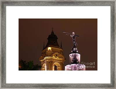 Lima Cathedral Tower And Fountain Framed Print