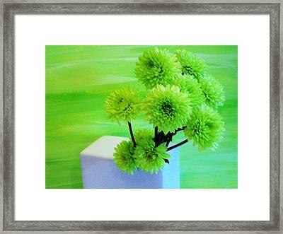 Lime Flowers Framed Print by Marsha Heiken