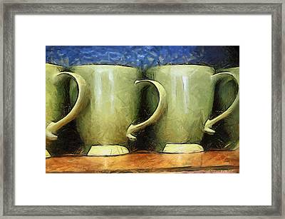 Lime Green Cups Framed Print by Paulette B Wright