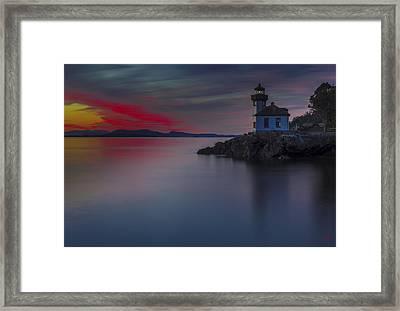Lime Kiln Lighthouse Sunset Framed Print
