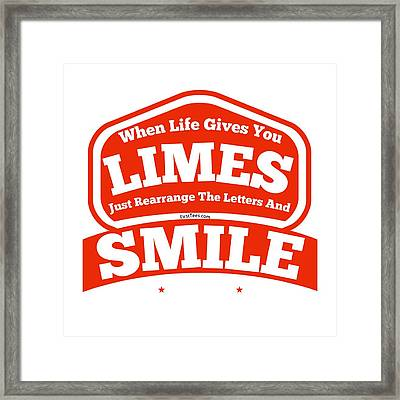 Limes And Smiles Framed Print by FirstTees Motivational Artwork