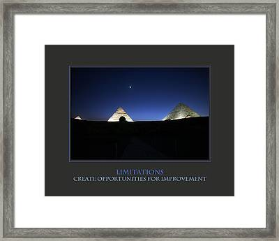 Limitations Create Opportunities For Improvement Framed Print