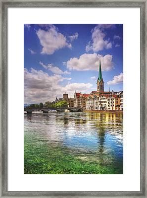Limmat River Zurich Switzerland  Framed Print
