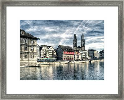Framed Print featuring the photograph Limmat Riverfront by Jim Hill