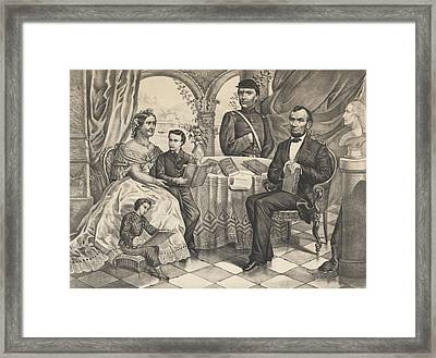 Lincoln And His Family Framed Print by American School