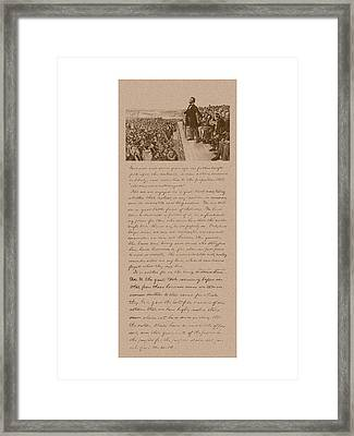 Lincoln And The Gettysburg Address Framed Print by War Is Hell Store