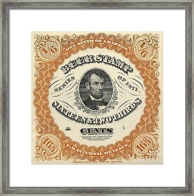 1871 Lincoln Beer Tax Stamp Framed Print