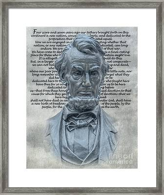Lincoln Bust And Gettysburg Address Framed Print by Randy Steele