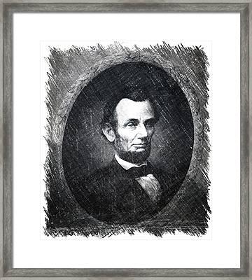 Lincoln Bw Portrait Framed Print