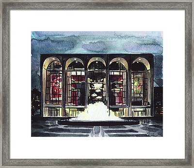 Lincoln Center Met Opera Fountain New York City Ballet Nyc Dusk Framed Print by Laura Row