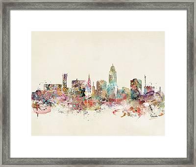 Lincoln City Skyline Nebraska Framed Print