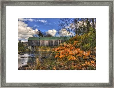 Lincoln Covered Bridge - Woodstock, Vt Framed Print by Joann Vitali