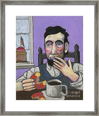 Lincoln's First Donut Framed Print