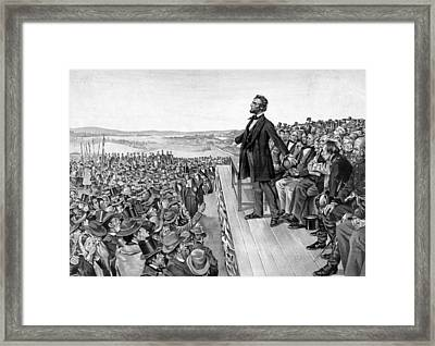 Lincoln Delivering The Gettysburg Address Framed Print by War Is Hell Store