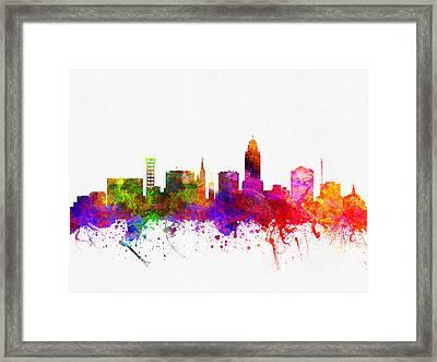 Lincoln Nebraska Skyline Color02 Framed Print
