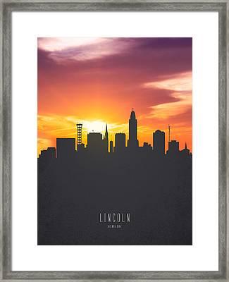 Lincoln Nebraska Sunset Skyline 01 Framed Print