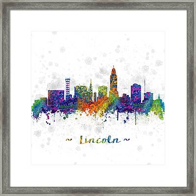 Lincoln Nebraska Skyline Color 03sq Framed Print by Aged Pixel