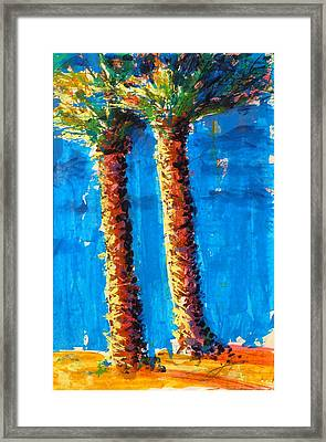 Framed Print featuring the painting Lincoln Rd Date Palms by Thomas Lupari