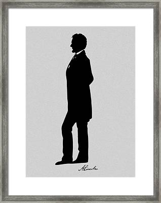 Lincoln Silhouette And Signature Framed Print by War Is Hell Store