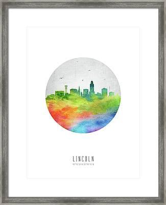 Lincoln Skyline Usneli20 Framed Print by Aged Pixel