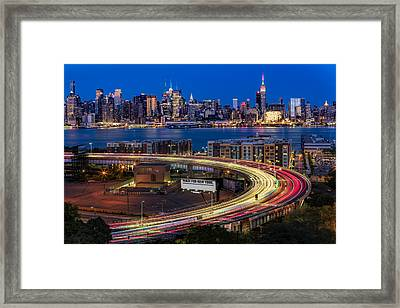 Lincoln Tunnel Helix And Nyc Skyline Framed Print by Susan Candelario