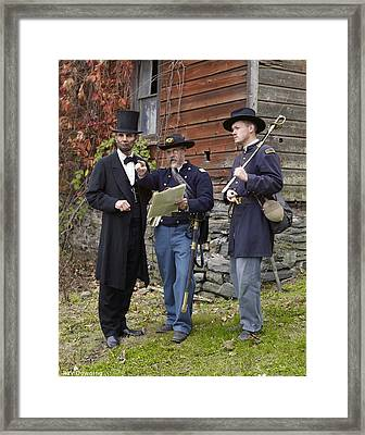 Lincoln With Officers 2 Framed Print by Ray Downing