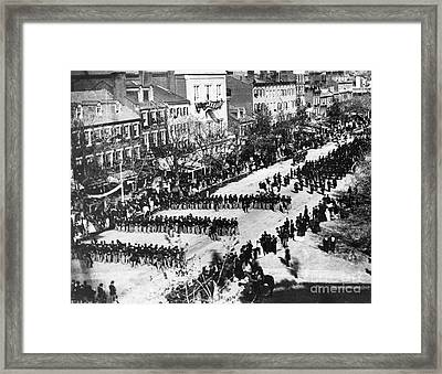 Lincolns Funeral Procession, 1865 Framed Print by Photo Researchers, Inc.