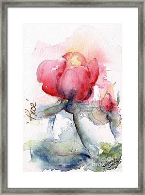 Linda's Rose Watercolor Framed Print by CheyAnne Sexton