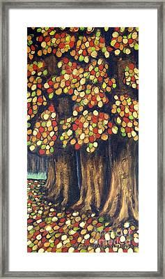 Linden Trees In The Fall Framed Print by Anna Folkartanna Maciejewska-Dyba