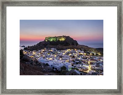 Lindos - Morning Glow Framed Print