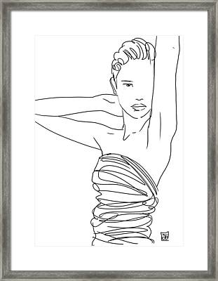 Framed Print featuring the drawing Line Art Lady by Giuseppe Cristiano