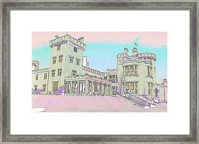 Line Art Of Dromoland Castle Framed Print by Carl Purcell