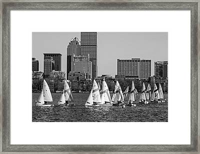 Line Of Boats On The Charles River Boston Ma Black And White Framed Print by Toby McGuire